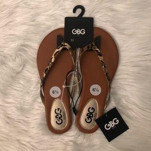 GUESS Cheetah Print Medium Brown Sandals